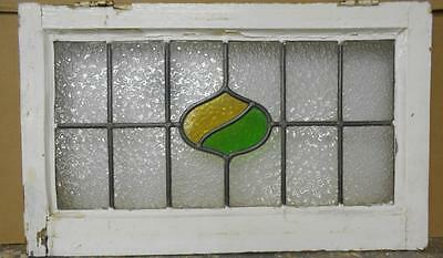 "MID SIZED OLD ENGLISH LEADED STAINED GLASS WINDOW Abstract Design 26.25"" x 16"""