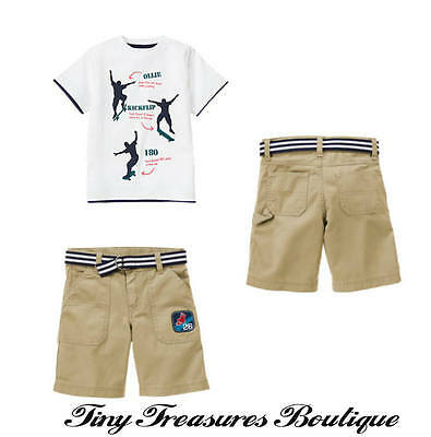 Nwt Gymboree Skate Camp 2 Pc. Set Top Shorts Boys Size 6 New