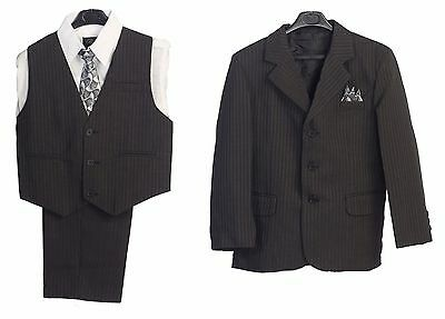 Boys Suit S Charcoal Black Party Outfit Set Kids Wedding Party Formal Vest New