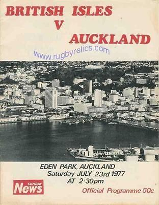 BRITISH LIONS 1977 v AUCKLAND RUGBY PROGRAMME