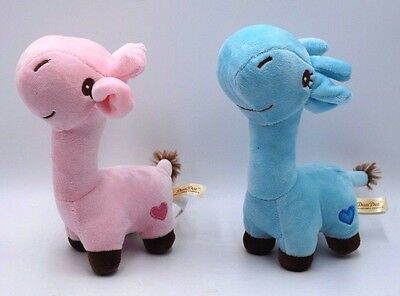 Dan Dee Plush Giraffe Pink Blue Gender Reveal Heart on Hip Embroidered Features