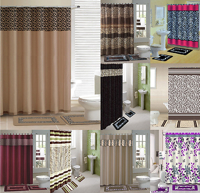New Designs Shower Curtain Matching Covered Fabric Hooks  Bathroom Set 13Pc