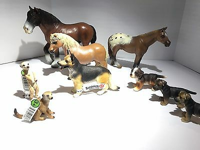 GREAT Schleich Animals LOT 9pc - Horses Dogs Puppies Meerkat some NEW with TAG