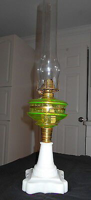 Antique 1870-80 Vaseline Font With Opaque Glass Base Oil Lamp~Complete