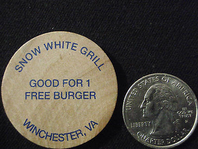 Winchester Virginia SNOW WHITE GRILL Vintage Wooden Nickel Circa 1950s -1960s