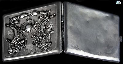Antique 1900 Chinese Sterling Silver Raised Dueling Dragon Cigarette Case