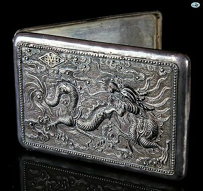 Antique 1900 Chinese Export Raised Marine Dragon 'Argent' Silver Cigarette Case