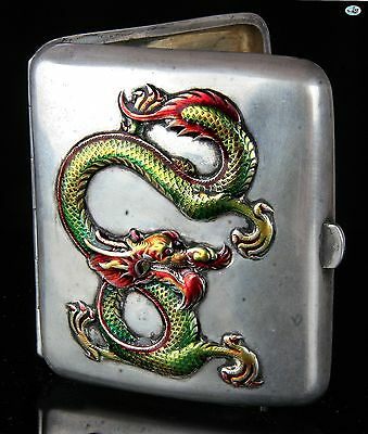 Antique 1900 Chinese Sterling Silver Colorful Raised Dragon Cigarette Case