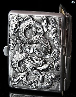 Antique 1900s Chinese Export Guang Li Sterling Silver Cigarette Case