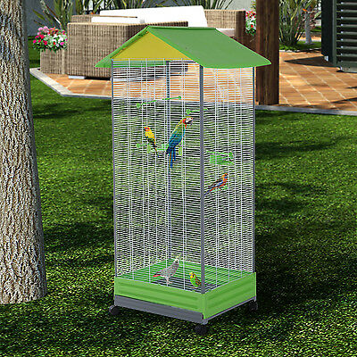 PawHut Large Metal Mobile Bird Stand Parrot Cage Cockatiel Aviary Play House