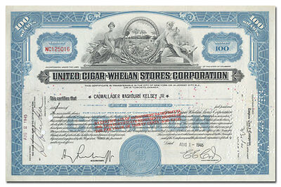 United Cigar - Whelan Stores Corporation Stock Certificate