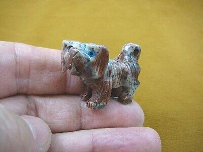 (Y-DOG-LL-8) red Lhasa Apso Mi Ki DOGS I love my dog carving SOAPSTONE puppy