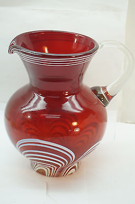 VINTAGE ART GLASS PITCHER BOHEMIAN CZECH RUBY RED RED PULLED FEATHER 8in CRYSTAL