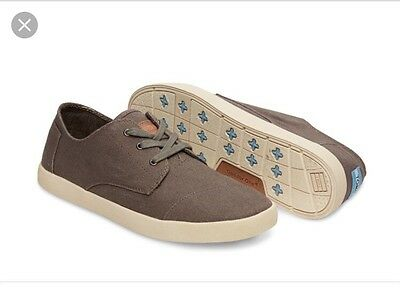 TOMS Paseo Ash Canvas Lace Up Shoes Sneakers WOMENS Size 9 - Excellent Condition