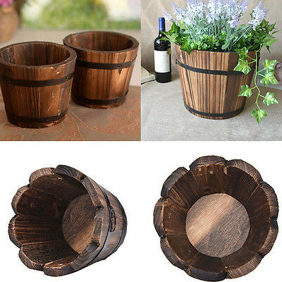 Garden Round Barrel Planter Plantpot Burntwood Wooden Plants Flower Pots Retro