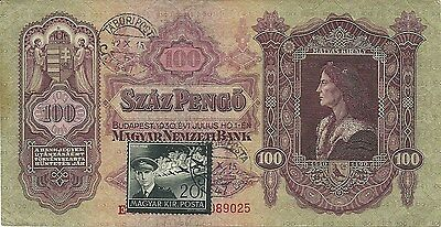 Hungary 100 Pengo P-98 With 1942 First Day Issue Stamp & Postmark - Tabori