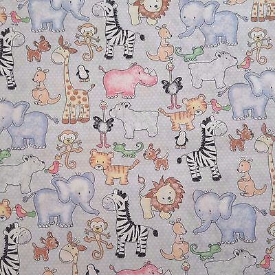 PATCHWORK NEW FABRIC Zoo Animals Baby 100% Cotton POPLIN Material Quilting