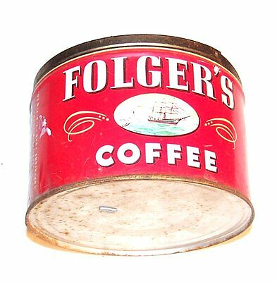 Folgers 50's Keywind Coffee Can 1Lb Advertising Tin Metal Beer Oil Flat Top Ofr