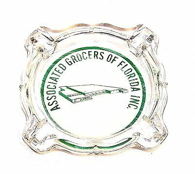 Associated Grocers Of Florida Store Grocery Glass Advertising Ashtray MkOfr