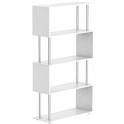 Wooden Wood Storage Display Unit Bookshelf Bookcase Room Dividers S Shaped White