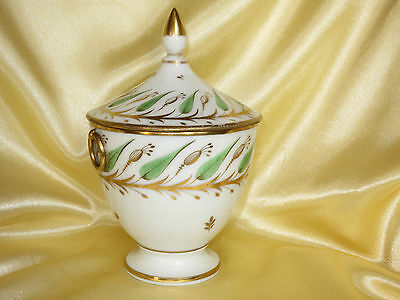 Porcelaine De Paris Sucrier Decor Vert D'eau Et Or Debut Xixe Siecle