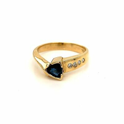 AUSTRALIAN Sapphire & Diamond Dress Ring - 18k Yellow Gold - Size J