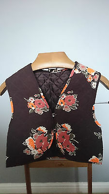 """Vintage Thick Brown Ladies Waistcoat with Orange Flowers Over  - Size Small 34"""""""