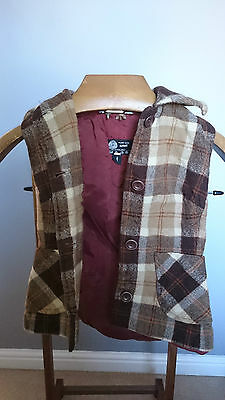 """Vintage Thick Beige/Brown Tartan Ladies Waistcoat with Collar- Size X Small 30"""""""