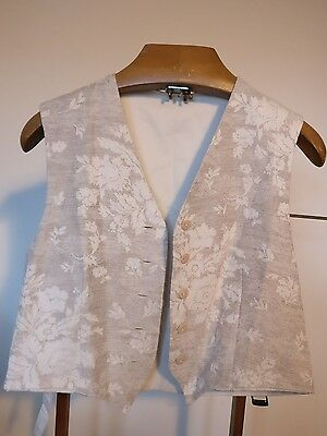 """Vintage Cream Ladies Waistcoat with Floral Pattern Front - Size Large 40"""""""