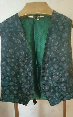Vintage Black & Green Ladies Waistcoat with Floral Front - Size Medium 38""