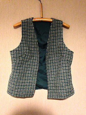 Vintage Blue Open Ladies Waistcoat with Blue/Brown/White Checks- Size Medium 38""