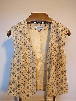 """Vintage Yellow Waistcoat with Patterns and V Neck - Size Medium 36"""""""
