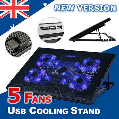 "Adjustable Laptop Notebook 5 Fans Cooling Stand Pad with USB Port Fits10""-17"""
