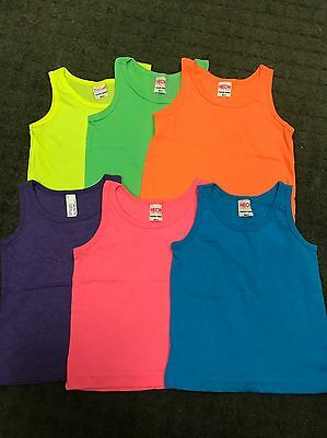 56 Pc Lot Girls Neon Colors American Apparel Cotton Tank Tops Sz 2-12
