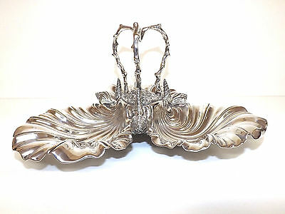 Stunning Antique Silver Plated Seashell Centrepiece Serving Dish By James Deakin