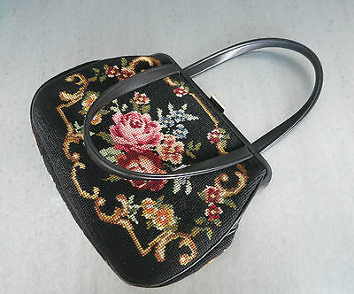 GOBELIN HANDTASCHE_1950`s Germany_ALT_VINTAGE NEEDLEPOINT HANDBAG LEATHER_ROSES