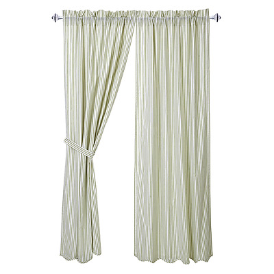 French Country Shabby Chic Curtains Panels Green White Stripe 101.6cm W x213cm L