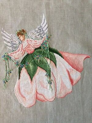 Finished Completed Cross Stitch Angel Sweetheart Rose Black Swan