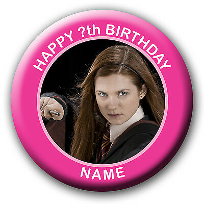 PERSONALISED HARRY POTTER GINNY WEASLEY BIRTHDAY BADGE MAGNET MIRROR 58 or 77MM