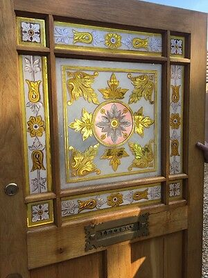 Rare Hand Painted  Glass Oak Victorian  Front Door Period Old Reclaimed Antique