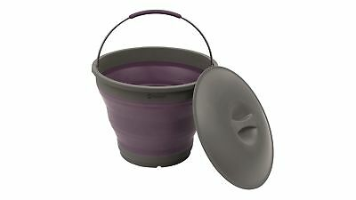 Outwell Collaps Silicone Folding Camping Bucket with Lid - Plum
