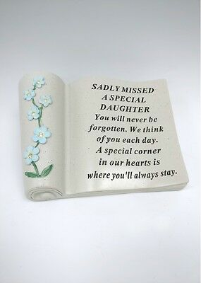 Sadly Missed Special Daughter Forget Me Not Scroll Grave Memorial Ornament Gift