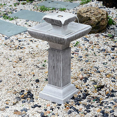 Outdoor Patio 2-tire Water Fountain Birdbath with LED Light Grey