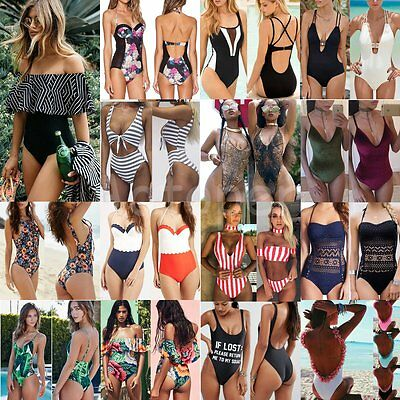 New Women Push-up Padded Bra One-Piece Bikini Swimsuit Monokini Swimwear Bathing
