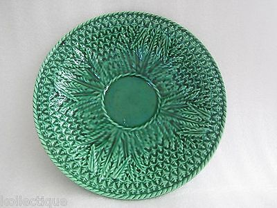 Fine Antique Green Majolica Plate with Wheat Design, Marked 12, Unknown Maker
