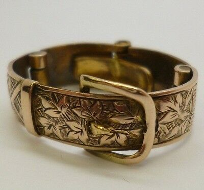 Vintage Antique Beautiful 9ct Yellow Gold Buckle Floral Engraved Scarf Ring