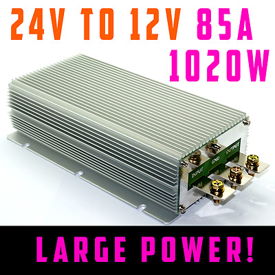 DC 24V Step-down to 12V 85A 1020W Car Power Converter Waterproof Vehicle
