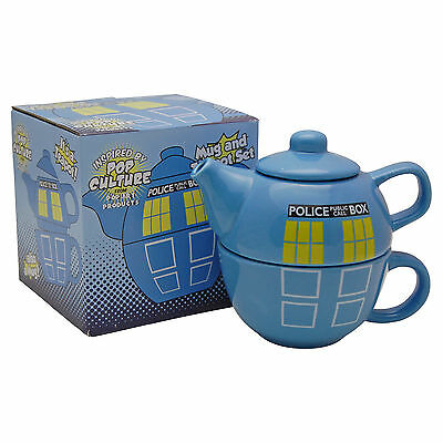 Doctor Who Tardis Tea Pot and Cup Set Dr Who Police Box Teapot Mug Gift Idea