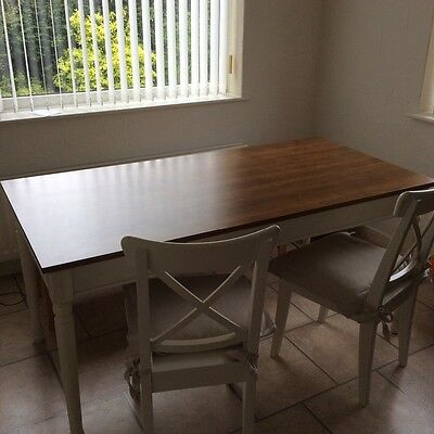 Argos White Vintage style dining table and 2 chairs with bench