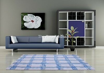 Fusion Crete Blue Luxury Handtufted Wool Rug in various sizes